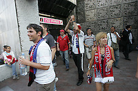 United States Men's National team fans disembark at Insurgentes metro stop in Zona Rosa after returning from Azteca stadium.  The United States Men's National Team played Mexico in a CONCACAF World Cup Qualifier match at Azteca Stadium in, Mexico City, Mexico on Wednesday, August 12, 2009.