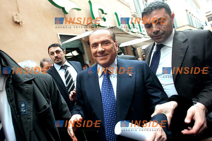 Roma 25/03/2013 Camera. Silvio Berlusconi arriva al Palazzo dei Gruppi per la riunione con i gruppi Parlamentari del PDL..Photo Samantha Zucchi Insidefoto