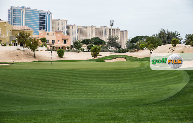 13th green at The Els Club , Dubai, United Arab Emirates.  28/01/2016. Picture: Golffile | David Lloyd<br /> <br /> All photos usage must carry mandatory copyright credit (&copy; Golffile | David Lloyd)