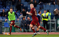 Calcio, Serie A: Lazio vs Roma. Roma, stadio Olimpico, <br /> Roma&rsquo;s Radja Nainggolan celebrates after scoring during the Italian Serie A football match between Lazio and Rome at Rome's Olympic stadium, 4 December 2016. Roma won 2-0.<br /> UPDATE IMAGES PRESS/Riccardo De Luca