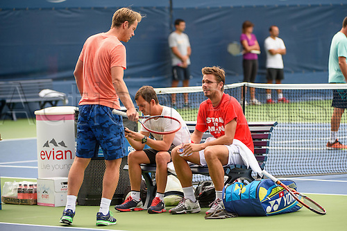 31.08.2015. New York, NY, USA.  Stan Wawrinka (SUI)and Magnus Norman (l) during practice at the 2015 U.S. Open Tennis Championships at the USTA Billie Jean King National Tennis Center in Flushing, Queens, New York, USA.