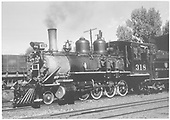3/4 fireman's-side view of D&amp;RGW #318 at Montrose engine house.<br /> D&amp;RGW  Montrose, CO