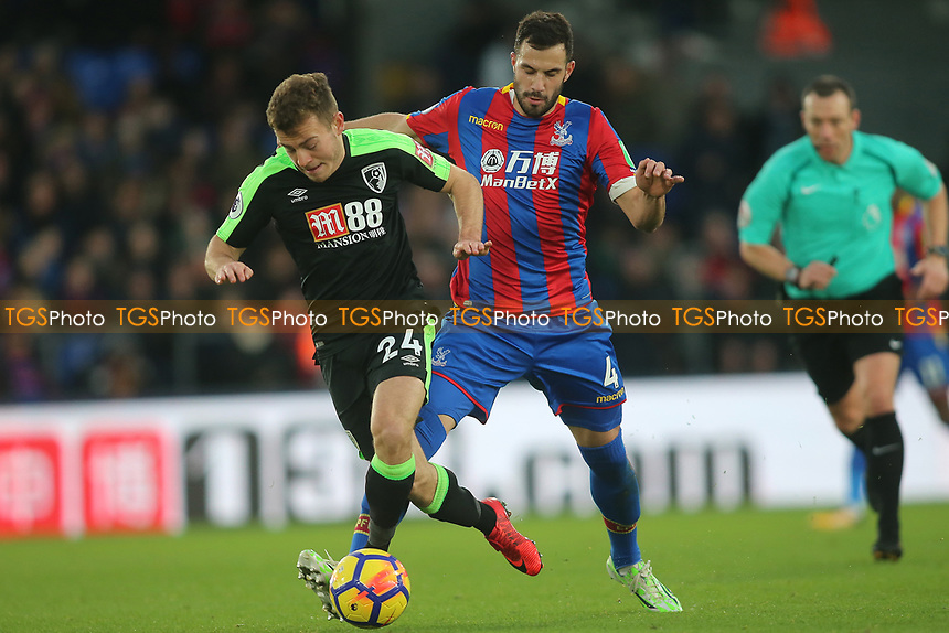 Ryan Fraser of Bournemouth and Luka Milivojevic of Crystal Palace during Crystal Palace vs AFC Bournemouth, Premier League Football at Selhurst Park on 9th December 2017