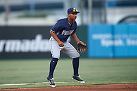 Shortstop Bryan Torres (12), of the AZL Padres 1, during an Arizona League game against the AZL Angels on August 5, 2019 at Tempe Diablo Stadium in Tempe, Arizona. AZL Padres 1 defeated the AZL Angels 5-0. (Zachary Lucy/Four Seam Images)