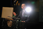 A light is reflected in a teleprompter as United States President Barack Obama addresses the 70th annual United Nations General Assembly at the UN headquarters September 28, 2015 in New York City. Obama will hold bilateral meetings with Indian Prime Minister Narendra Modi and Russian President Vladimir Putin later in the day. <br /> Credit: Chip Somodevilla / Pool via CNP