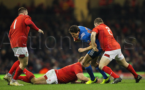 17th March 2018, Principality Stadium, Cardiff, Wales; NatWest Six Nations rugby, Wales versus France; Francois Trinh-Duc of France is tackled by Ken Owens of Wales