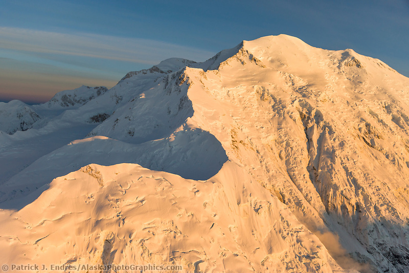 Aerial View Of Pioneer Ridge Leading To The Summit Of Mt. Denali, North America's Tallest Peak. Denali National Park, Interior, Alaska.