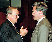 Central Intelligence Agency (CIA) Director-designate Anthony Lake discusses the day's testimony with United States Senator Max Baucus (Democrat of Montana) on March 12, 1997 in Washington, DC.<br /> Credit: Ron Sachs / CNP