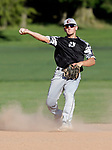 Watertown, CT- 26 June 2017-062617CM04-  Oakville's Justin Guerrera makes the throw to first during their American Legion matchup against Waterbury on Monday.    Christopher Massa Republican-American