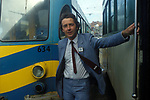 David Alton MP. Liberal Party Conference Blackpool 1980 poses between two Blackpool trams. 1980s UK