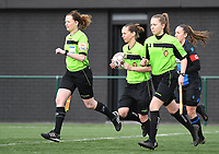 20200329 – BRUGGE, BELGIUM : referees with assistant referee Joline Delcroix , referee Hannelore Onsea and assistant referee Shauni Depruyst  pictured during a women soccer game between Dames Club Brugge and Standard Femina de Liege on the 17 th matchday of the Belgian Superleague season 2019-2020 , the Belgian women's football  top division , saturday 29 th February 2020 at the Jan Breydelstadium – terrain 4  in Brugge  , Belgium  .  PHOTO SPORTPIX.BE | DAVID CATRY