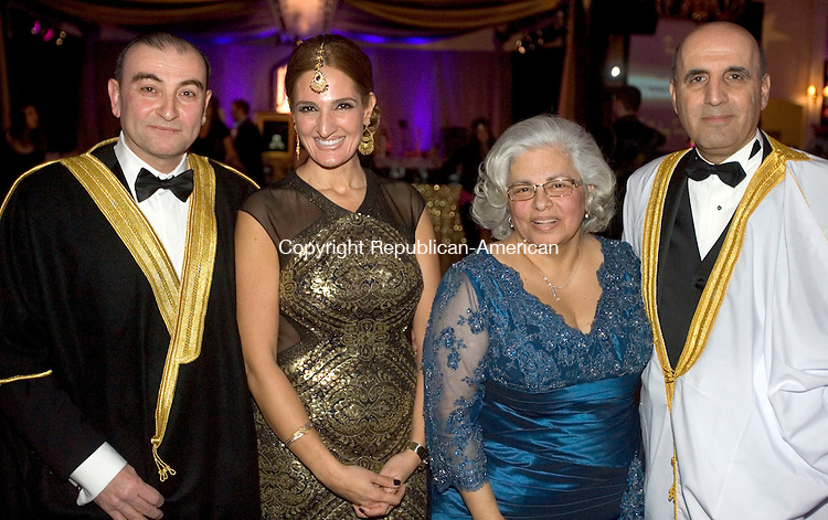 SOUTHINGTON CT. 07 February 2015-020715SV12-From left, Dr. Abdul Zarif and his wife Rawd Zarif of Middlebury,  Linda Noujaim and her husband Rep. Selim Noujaim, R-74th of Waterbury attend the One Thousand and One Nights Saint Mary's Hospital Foundation Gala 2015 at the Aqua Turf in Southington Saturday. They were the co-chairs of the event. <br /> Steven Valenti Republican-American
