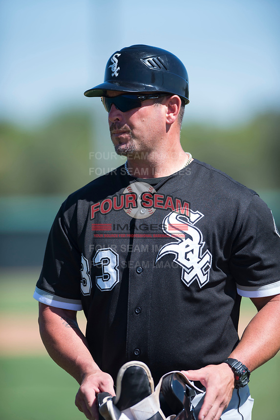 Chicago White Sox coach Aaron Rowand (33) during an Instructional League game against the Kansas City Royals at Camelback Ranch on September 25, 2018 in Glendale, Arizona. (Zachary Lucy/Four Seam Images)