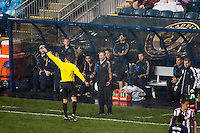 Referee Jorge Gonzalez sends off Philadelphia Union manager John Hackworth. The Philadelphia Union defeated the CD Chivas USA 3-1 during a Major League Soccer (MLS) match at PPL Park in Chester, PA, on July 12, 2013.