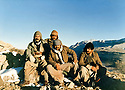 Iraq 1981 .Peshmergas in winter in the mountains, second left, Azad Sagerma.<br />