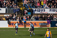 Michael Harriman of Wycombe Wanderers celebrates his goal during the Sky Bet League 2 match between Wycombe Wanderers and Mansfield Town at Adams Park, High Wycombe, England on 25 March 2016. Photo by Andy Rowland.