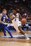 MILWAUKEE, WI - MARCH 18: Butler Bulldogs guard Kamar Baldwin (3) dribbles past Middle Tennessee Blue Raiders guard Tyrik Dixon (0) during the second half of the 2017 NCAA Men's Basketball Tournament held at BMO Harris Bradley Center on March 18, 2017 in Milwaukee, Wisconsin. (Photo by Jamie Schwaberow/NCAA Photos via Getty Images)