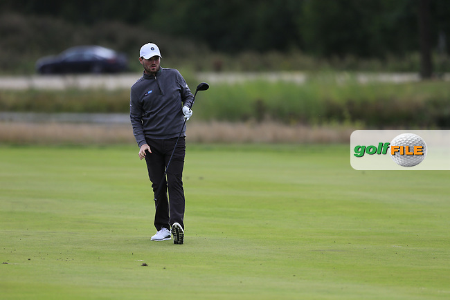 Cormac Sharvin (NIR) on the 18th during the 1st round at the Porsche European Open, Green Eagles Golf Club, Luhdorf, Winsen, Germany. 05/09/2019.<br /> Picture Fran Caffrey / Golffile.ie<br /> <br /> All photo usage must carry mandatory copyright credit (© Golffile | Fran Caffrey)