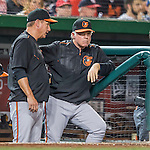 25 August 2016: Baltimore Orioles Manager Buck Showalter looks out from the dugout during a game against the Washington Nationals at Nationals Park in Washington, DC. The Nationals blanked the Orioles 4-0 to salvage one game of their 4-game home and away series. Mandatory Credit: Ed Wolfstein Photo *** RAW (NEF) Image File Available ***