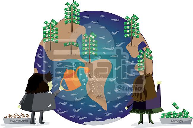 Investor investing money for earner