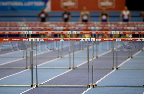 February 18th 2017,  Birmingham, Midlands, England; IAAF The Müller Indoor Grand Prix Athletics meeting; General view of the hurdles and Muller logo