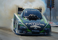 Sept. 21, 2012; Ennis, TX, USA: NHRA funny car driver Alexis DeJoria during qualifying for the Fall Nationals at the Texas Motorplex. Mandatory Credit: Mark J. Rebilas-