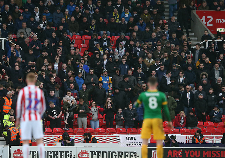 Preston North End fans watch their team in action <br /> <br /> Photographer Stephen White/CameraSport<br /> <br /> The EFL Sky Bet Championship - Stoke City v Preston North End - Saturday 26th January 2019 - bet365 Stadium - Stoke-on-Trent<br /> <br /> World Copyright © 2019 CameraSport. All rights reserved. 43 Linden Ave. Countesthorpe. Leicester. England. LE8 5PG - Tel: +44 (0) 116 277 4147 - admin@camerasport.com - www.camerasport.com