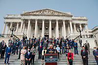 """United States House Minority Whip Steve Scalise (Republican of Louisiana), offers remarks as he is joined by United States House Minority Leader Kevin McCarthy (Republican of California) and others during a press conference regarding the """"Commitment to America: to restore our way of life, rebuild the greatest economy, and renew the American dream"""" on the House Steps at the US Capitol in Washington, DC., Tuesday, September 15, 2020. Credit: Rod Lamkey / CNP /MediaPunch"""