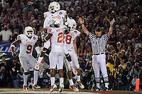 Jan 7, 2010; Pasadena, CA, USA; Texas Longhorns wide receiver Dan Buckner (4) celebrates after making a catch for a two-point conversion during the fourth quarter of the 2010 BCS national championship game at the Rose Bowl.  Mandatory Credit: Mark J. Rebilas-