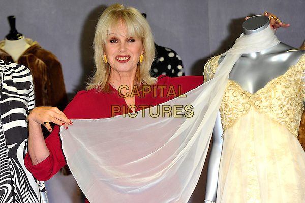 Joanna Lumley.Photocall to promote auction of her clothing worn in various TV programs, held at Kerry Taylor Auctions, Long Lane, Borough, London, England..November 12th, 2012.half length red top mannequins white gold dress sheer scarf .CAP/CJ.©Chris Joseph/Capital Pictures.