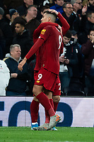 Liverpool's Roberto Firmino and Adam Lallana embrace after their win against Tottenham<br /> <br /> Photographer Stephanie Meek/CameraSport<br /> <br /> The Premier League - Tottenham Hotspur v Liverpool - Saturday 11th January 2020 - Tottenham Hotspur Stadium - London<br /> <br /> World Copyright © 2020 CameraSport. All rights reserved. 43 Linden Ave. Countesthorpe. Leicester. England. LE8 5PG - Tel: +44 (0) 116 277 4147 - admin@camerasport.com - www.camerasport.com