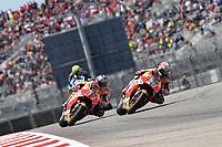 Austin (Stati Uniti) 23/04/2017 - gara Moto GP / foto Luca Gambuti/Image Sport/Insidefoto<br /> nella foto: Marc Marquez-Dani Pedrosa-Valentino Rossi