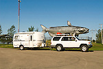 World's largest catfish, 40 feet long, at the headwaters of the Red River of the North by my Toyota 4Runner with Casita travel trailer
