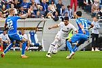07.10.2018, wirsol Rhein-Neckar-Arena, Sinsheim, GER, 1 FBL, TSG 1899 Hoffenheim vs Eintracht Frankfurt, <br /> <br /> DFL REGULATIONS PROHIBIT ANY USE OF PHOTOGRAPHS AS IMAGE SEQUENCES AND/OR QUASI-VIDEO.<br /> <br /> im Bild: Luka Jovic (Eintracht Frankfurt #8) gegen Kevin Vogt (TSG Hoffenheim #22) und Florian Grillitsch (TSG 1899 Hoffenheim #11)<br /> <br /> Foto &copy; nordphoto / Fabisch