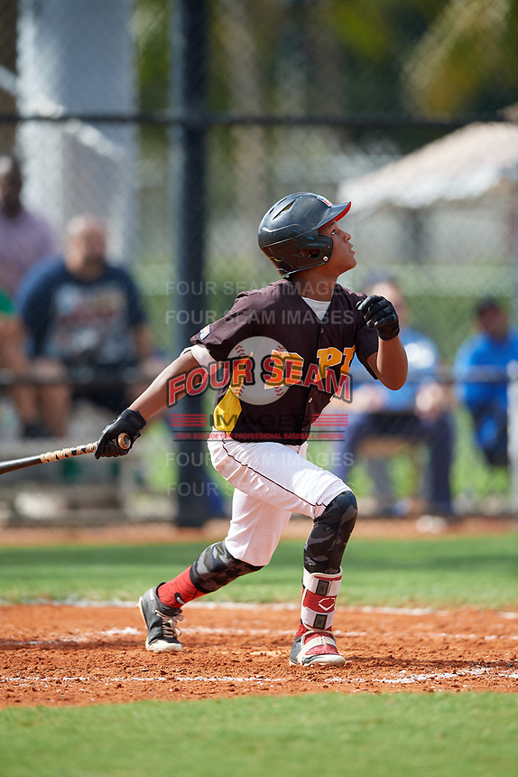 Breiner Pena (6) during the Dominican Prospect League Elite Florida Event at Pompano Beach Baseball Park on October 15, 2019 in Pompano beach, Florida.  (Mike Janes/Four Seam Images)