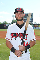 Carolina Mudcats third baseman Lucas Erceg (34) before a game against the Down East Wood Ducks on April 27, 2017 at Five County Stadium in Zebulon, North Carolina. Carolina defeated Down East 9-7. (Robert Gurganus/Four Seam Images)