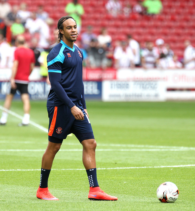 Blackpool's Charles Dunne during the pre-match warm-up <br /> <br /> Photographer Rich Linley/CameraSport<br /> <br /> Football - The Football League Sky Bet League One - Sheffield United v Blackpool - Saturday 22nd August 2015 - Bramall Lane - Sheffield<br /> <br /> &copy; CameraSport - 43 Linden Ave. Countesthorpe. Leicester. England. LE8 5PG - Tel: +44 (0) 116 277 4147 - admin@camerasport.com - www.camerasport.com
