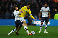Leeds United's Tyler Roberts is tackled by Preston North End's Ben Pearson<br /> <br /> Photographer Kevin Barnes/CameraSport<br /> <br /> The EFL Sky Bet Championship - Preston North End v Leeds United -Tuesday 9th April 2019 - Deepdale Stadium - Preston<br /> <br /> World Copyright &copy; 2019 CameraSport. All rights reserved. 43 Linden Ave. Countesthorpe. Leicester. England. LE8 5PG - Tel: +44 (0) 116 277 4147 - admin@camerasport.com - www.camerasport.com