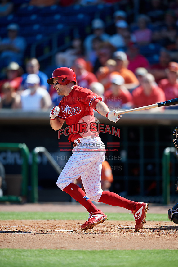 Philadelphia Phillies third baseman Phil Gosselin (9) follows through on a swing during a Grapefruit League Spring Training game against the Baltimore Orioles on February 28, 2019 at Spectrum Field in Clearwater, Florida.  Orioles tied the Phillies 5-5.  (Mike Janes/Four Seam Images)