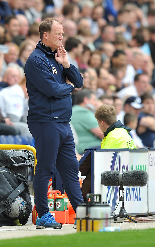 Preston North End's Manager Simon Grayson looks more Larry Grayson than Simon Grayson<br /> <br /> Photographer Dave Howarth/CameraSport<br /> <br /> Football - The Football League Sky Bet Championship - Preston North End v Middlesbrough -  Sunday 9th August 2015 - Deepdale - Preston<br /> <br /> &copy; CameraSport - 43 Linden Ave. Countesthorpe. Leicester. England. LE8 5PG - Tel: +44 (0) 116 277 4147 - admin@camerasport.com - www.camerasport.com