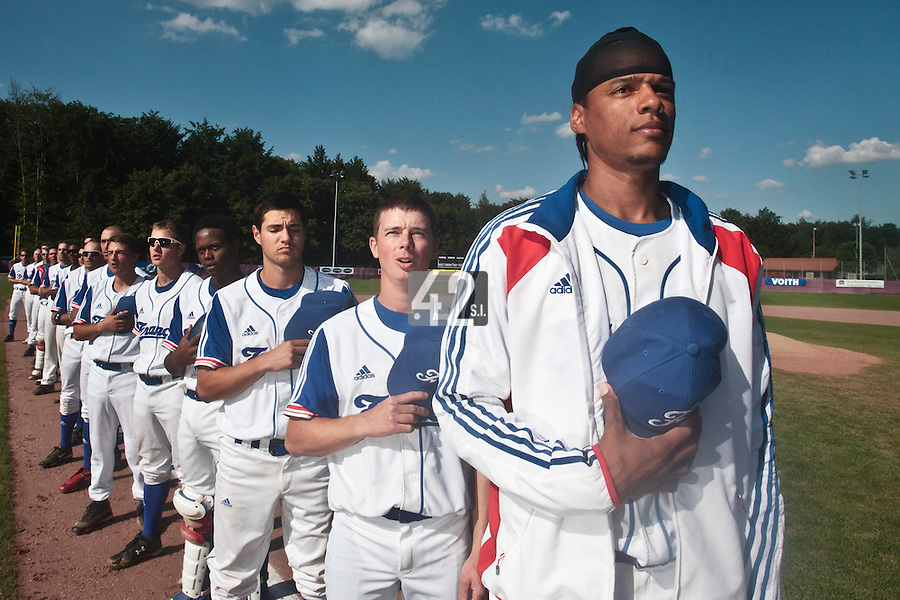 31 July 2010: Team France stands during the national anthem prior to Greece 14-5 win over France, at the 2010 European Championship, in Heidenheim, Germany.
