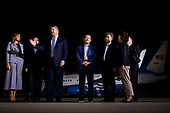 U.S. President Donald Trump speaks beside three American detainees after their arrival from North Korea at Joint Base Andrews, Maryland, U.S., on Thursday, May 10, 2018. North Korea released the three U.S. citizens who had been detained for as long as two years, a goodwill gesture ahead of a planned summit between President Donald Trump and Kim Jong Un that's expected in the coming weeks. Joining Trump is first lady Melania Trump, Vice President Mike Pence, Karen Pence, and Mike Pompeo, U.S. Secretary of State.<br /> Credit: Al Drago / Pool via CNP