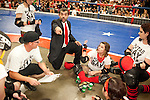 Putas del Fuego regroup during a bout with Hellcats at the Palmer Events Center in Austin, Texas.