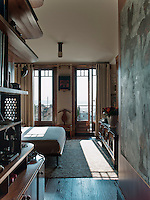 In the master bedroom, French doors open out onto dramatic views over the Asian part of bustling Istanbul