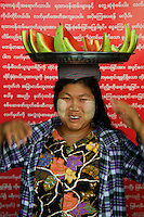 Water Melon Vendor at Mandalay Railway Station, Myanmar/Burma