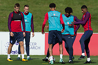 Nathaniel Chalobah and Marcus Rashford during the part open training session of the  England national football squad at St George's Park, Burton-Upon-Trent, England on 31 August 2017. Photo by James Williamson.