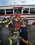 A training exercise hosted by the Piqua Fire Department on April 15, 2013, was made possible by Riverside of Miami County as a no-longer-serviceable bus was used to train area firefighrters in rescue techniques involving buses and individuals who may be unable to fend for themselves in the case of a crash. Firefighers from Fletcher and Lockington also tool part in the exercise.