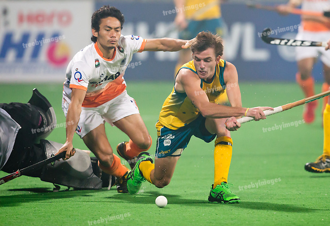 Mens Hockey World league Final Delhi 2014<br /> Day 4, 15-01-2014<br /> Australia v India<br /> Jocob Whetton<br /> Photo: Grant Treeby / treebyimages