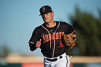 Modesto Nuts shortstop Bryson Brigman (8) jogs off the field between innings of a California League game against the San Jose Giants at John Thurman Field on May 9, 2018 in Modesto, California. San Jose defeated Modesto 9-5. (Zachary Lucy/Four Seam Images)