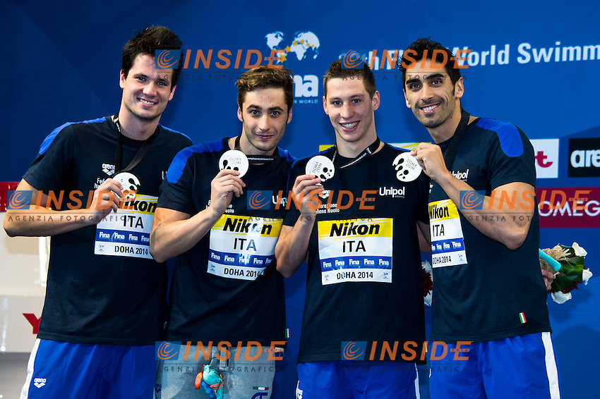 Team ITALY Silver Medal<br /> Men's 4x200m Freestyle<br /> Doha Qatar 04-12-2014 Hamad Aquatic Centre, 12th FINA World Swimming Championships (25m). Nuoto Campionati mondiali di nuoto in vasca corta.<br /> Photo Giorgio Scala/Deepbluemedia/Insidefoto